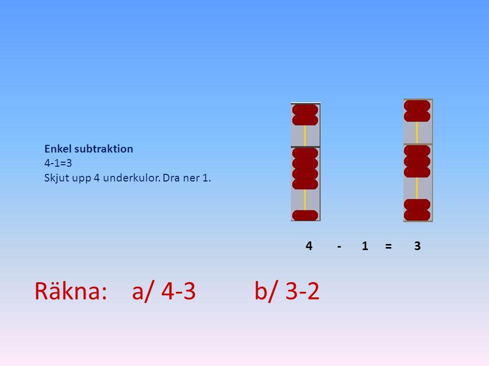 Räkna: a/ 4-3 b/ 3-2 1 4 3 - = Enkel subtraktion