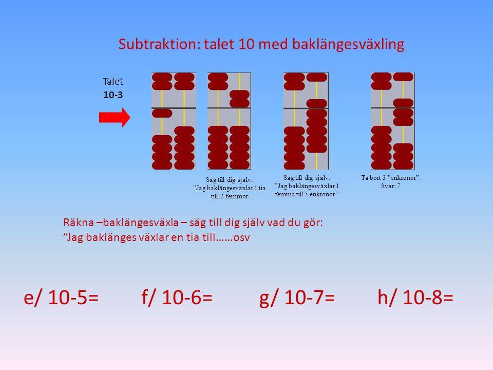 Subtraktion: talet 10 med baklängesväxling