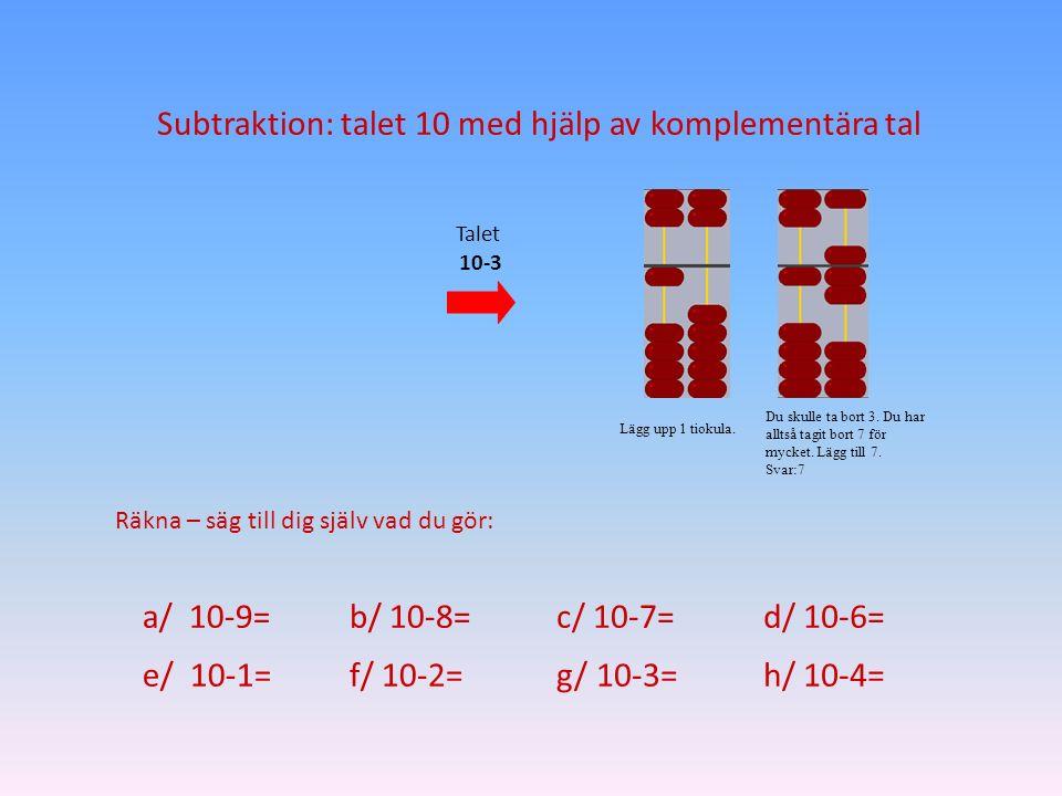 Subtraktion: talet 10 med hjälp av komplementära tal