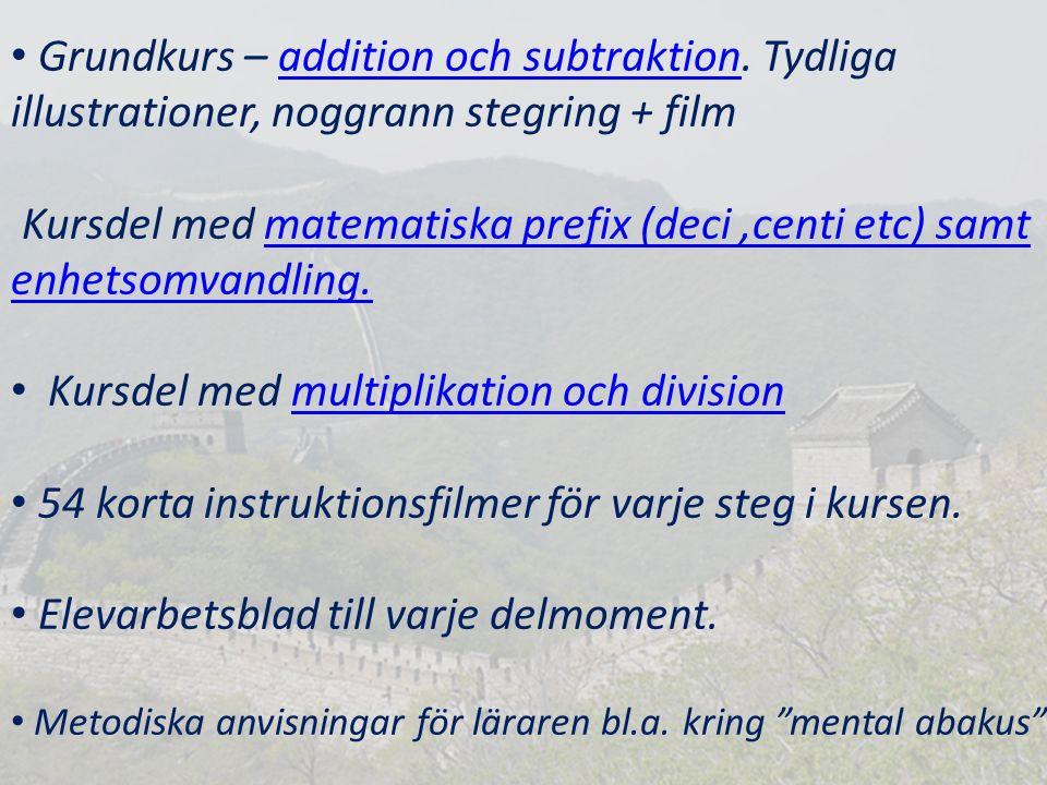 Kursdel med multiplikation och division