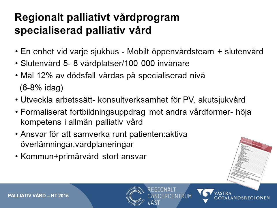 Regionalt palliativt vårdprogram specialiserad palliativ vård