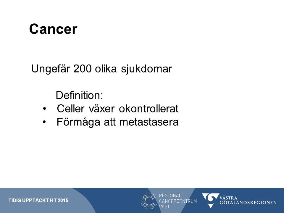 Cancer Ungefär 200 olika sjukdomar Definition: