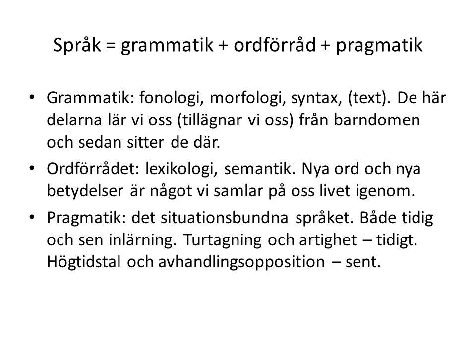 Språk = grammatik + ordförråd + pragmatik