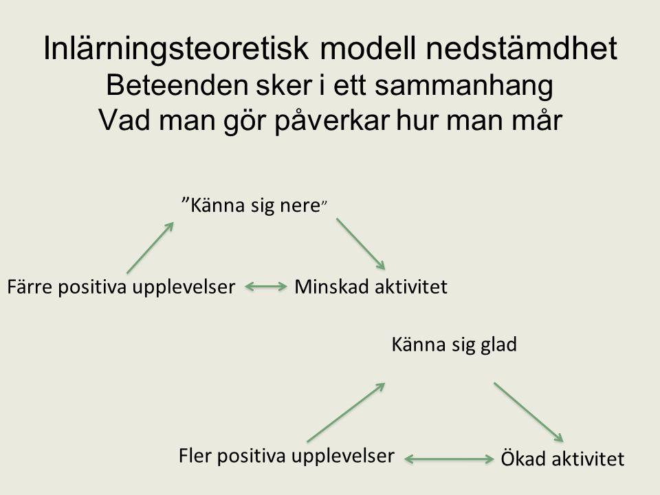 Inlärningsteoretisk modell nedstämdhet Beteenden sker i ett sammanhang Vad man gör påverkar hur man mår