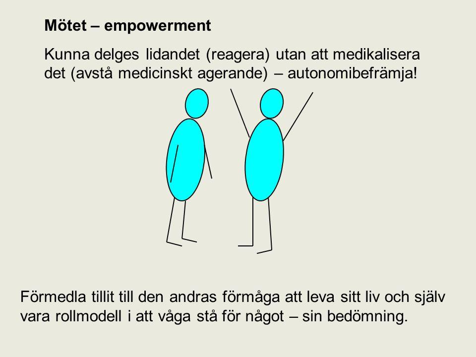 Mötet – empowerment Kunna delges lidandet (reagera) utan att medikalisera det (avstå medicinskt agerande) – autonomibefrämja!