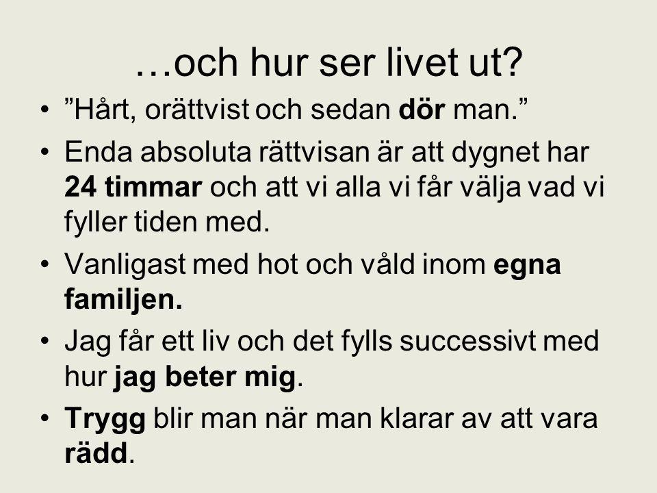 …och hur ser livet ut Hårt, orättvist och sedan dör man.