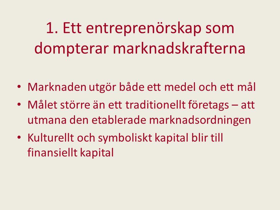 1. Ett entreprenörskap som dompterar marknadskrafterna