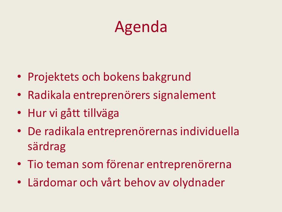 Agenda Projektets och bokens bakgrund
