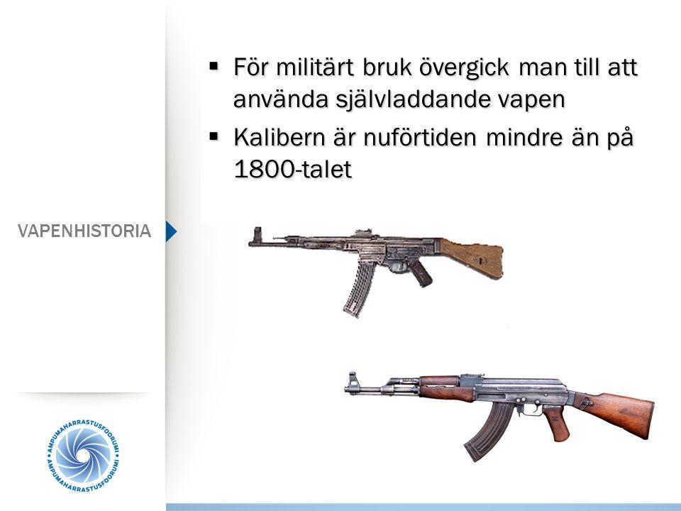 För militärt bruk övergick man till att använda självladdande vapen