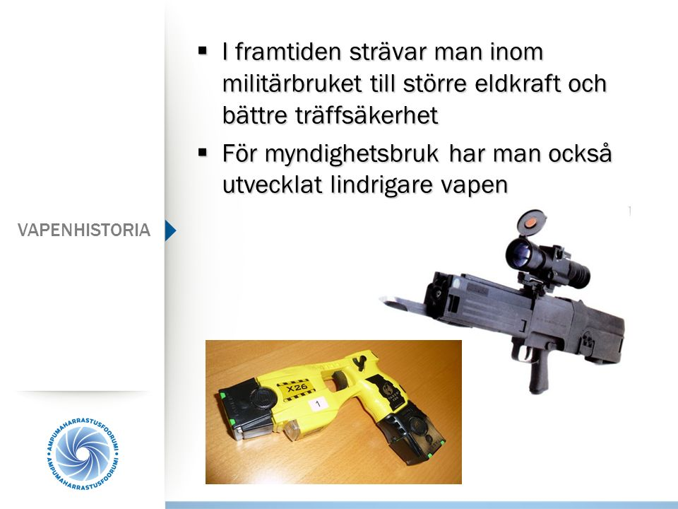 För myndighetsbruk har man också utvecklat lindrigare vapen