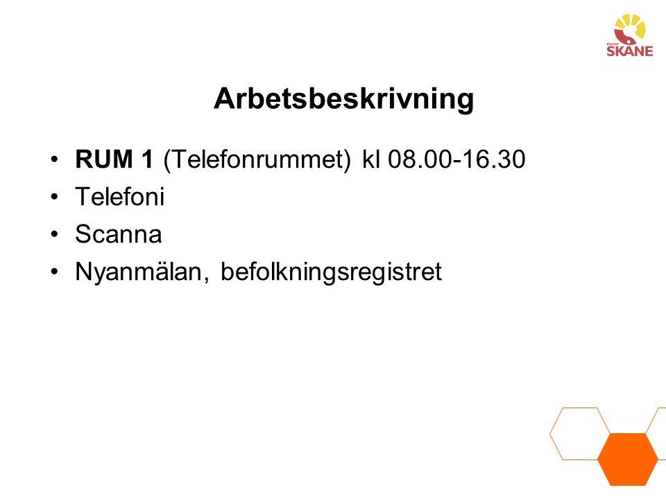 Arbetsbeskrivning RUM 1 (Telefonrummet) kl 08.00-16.30 Telefoni Scanna