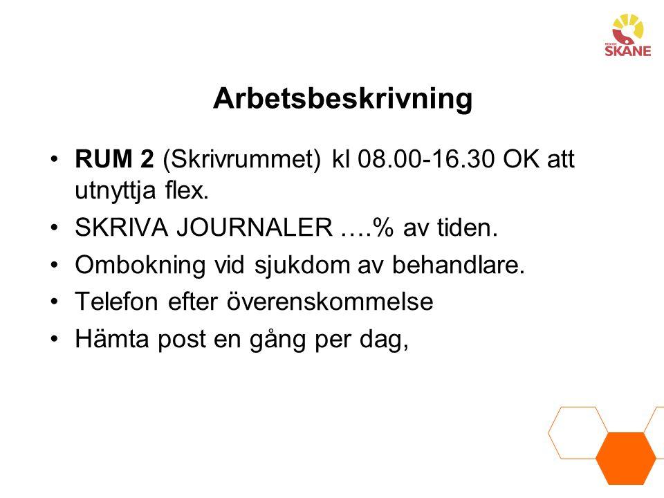 Arbetsbeskrivning RUM 2 (Skrivrummet) kl 08.00-16.30 OK att utnyttja flex. SKRIVA JOURNALER ….% av tiden.