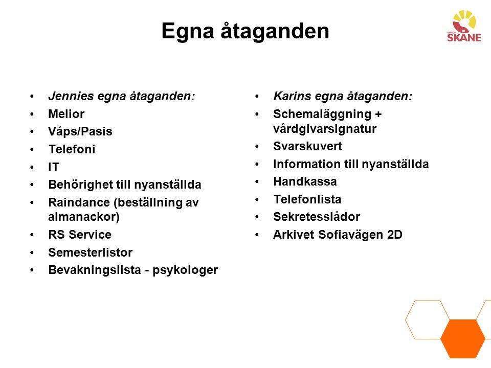 Egna åtaganden Jennies egna åtaganden: Melior Våps/Pasis Telefoni IT