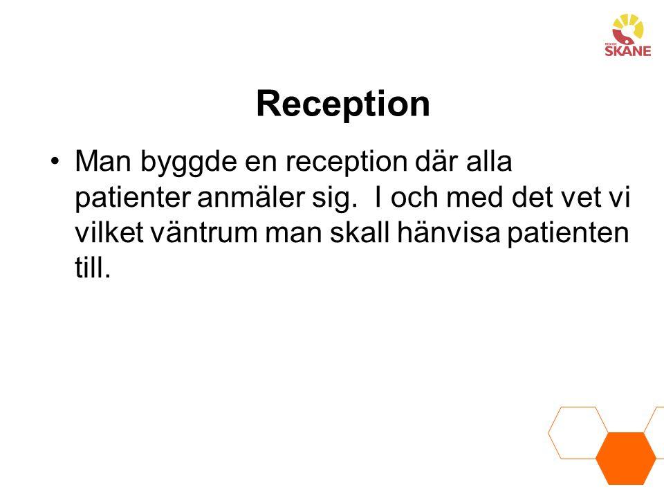 Reception Man byggde en reception där alla patienter anmäler sig.