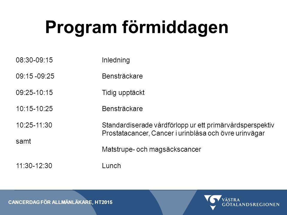 Program förmiddagen 08:30-09:15 Inledning 09:15 -09:25 Bensträckare
