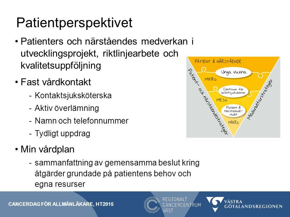 Patientperspektivet Patienters och närståendes medverkan i utvecklingsprojekt, riktlinjearbete och kvalitetsuppföljning.