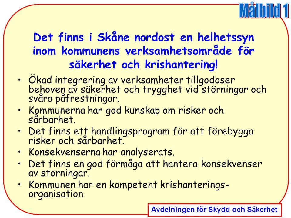 Målbild 1 Det finns i Skåne nordost en helhetssyn inom kommunens verksamhetsområde för säkerhet och krishantering!