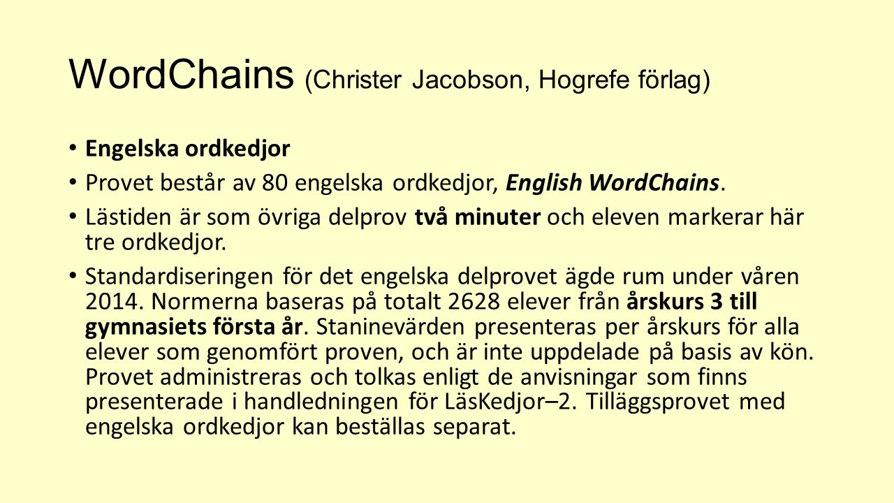 WordChains (Christer Jacobson, Hogrefe förlag)
