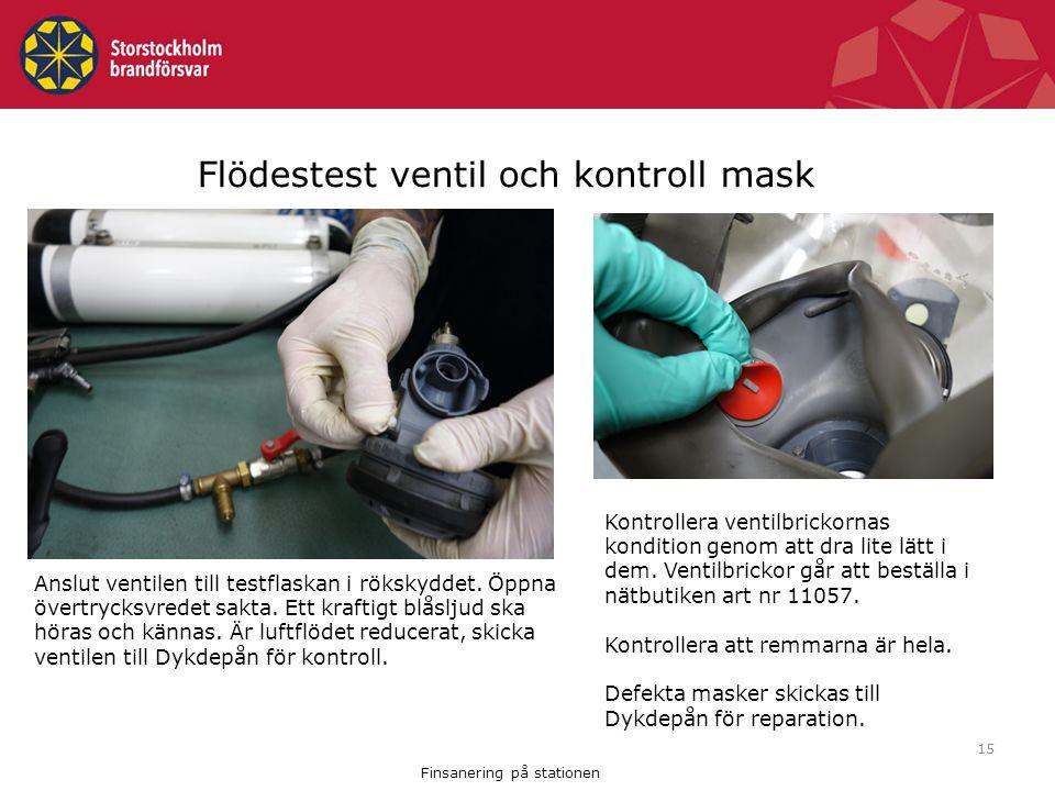 Flödestest ventil och kontroll mask