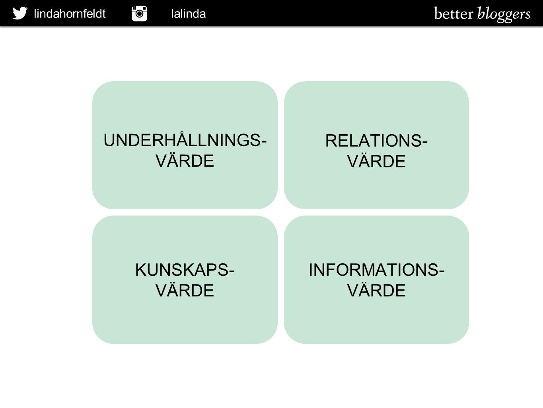 UNDERHÅLLNINGS- VÄRDE RELATIONS- VÄRDE KUNSKAPS- VÄRDE INFORMATIONS-