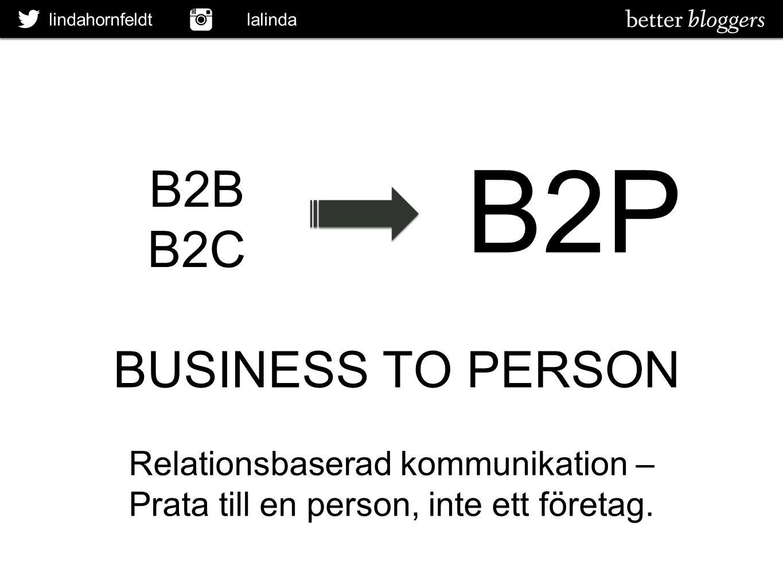 B2P B2B B2C BUSINESS TO PERSON Relationsbaserad kommunikation –