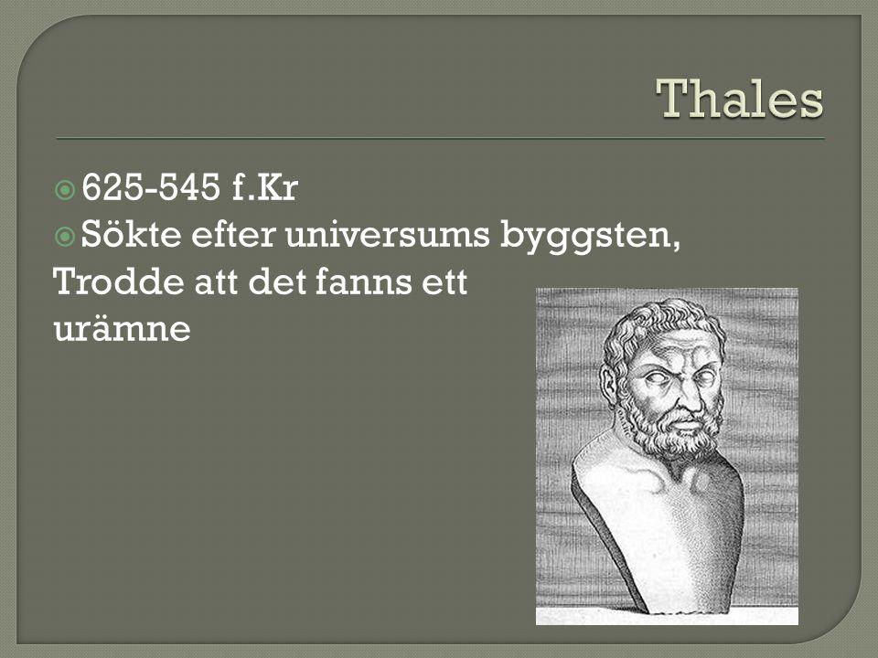 Thales 625-545 f.Kr Sökte efter universums byggsten,