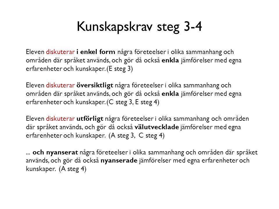 Kunskapskrav steg 3-4