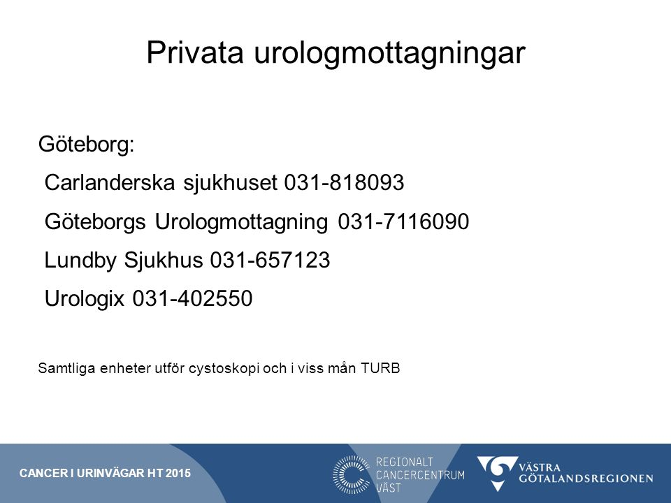 Privata urologmottagningar