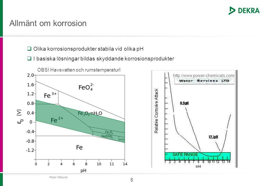 Allmänt om korrosion Olika korrosionsprodukter stabila vid olika pH