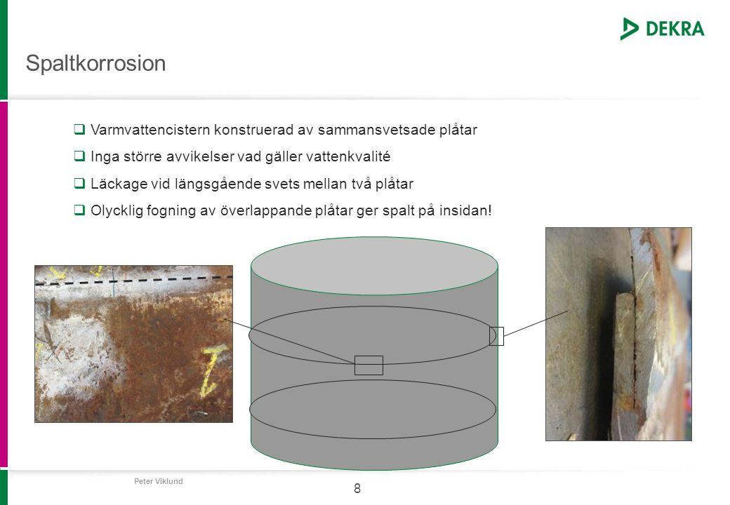 Spaltkorrosion Varmvattencistern konstruerad av sammansvetsade plåtar