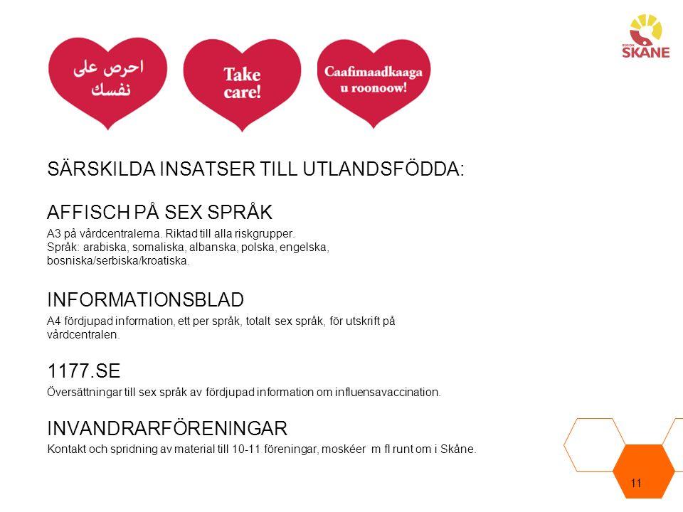 SÄRSKILDA INSATSER TILL UTLANDSFÖDDA: AFFISCH PÅ SEX SPRÅK