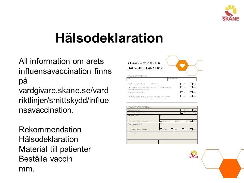 Hälsodeklaration All information om årets influensavaccination finns på vardgivare.skane.se/vardriktlinjer/smittskydd/influensavaccination.