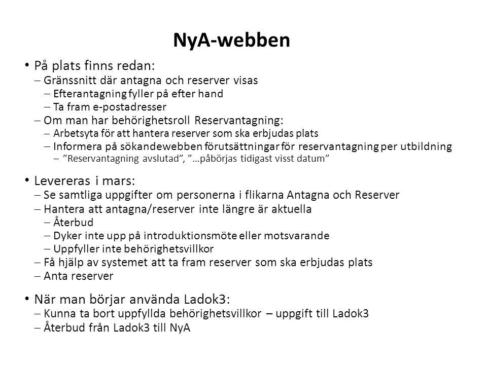 NyA-webben På plats finns redan: Levereras i mars: