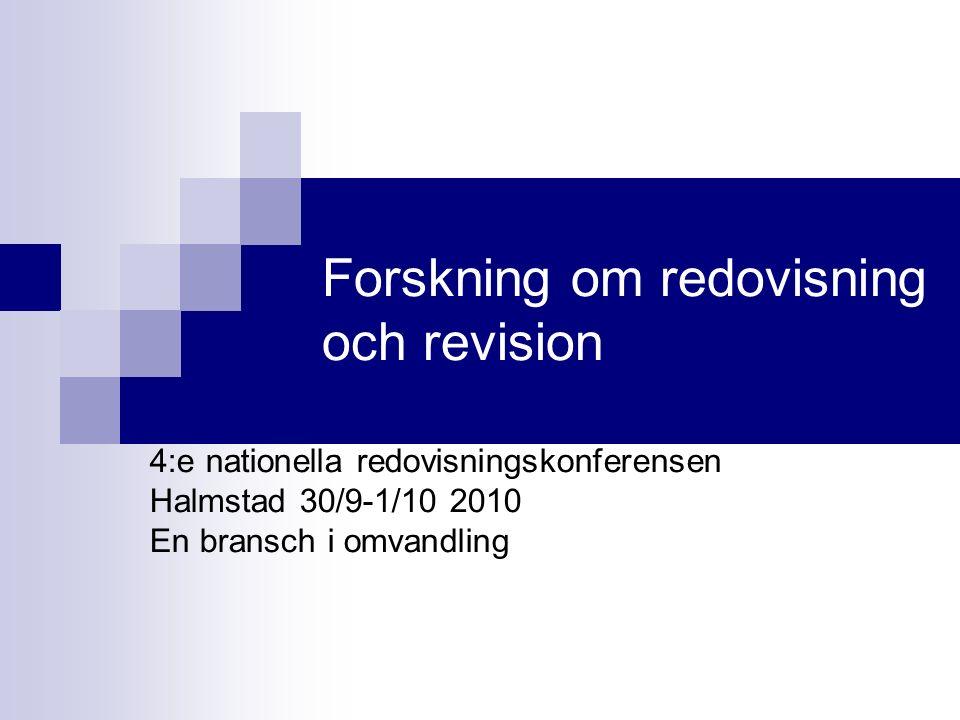 Forskning om redovisning och revision
