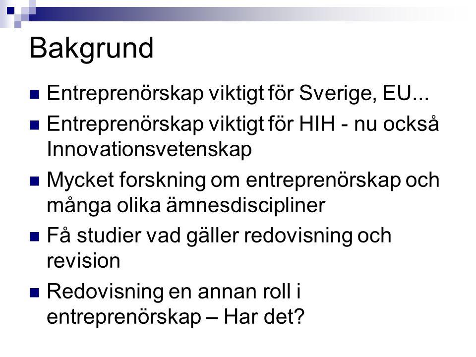 Bakgrund Entreprenörskap viktigt för Sverige, EU...