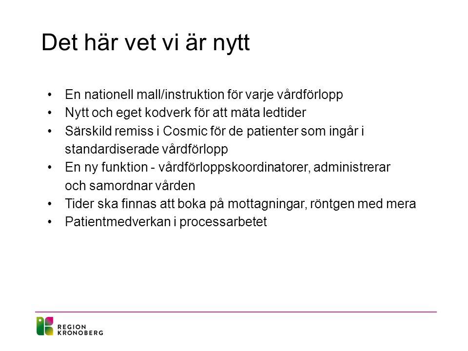 Det här vet vi är nytt En nationell mall/instruktion för varje vårdförlopp. Nytt och eget kodverk för att mäta ledtider.