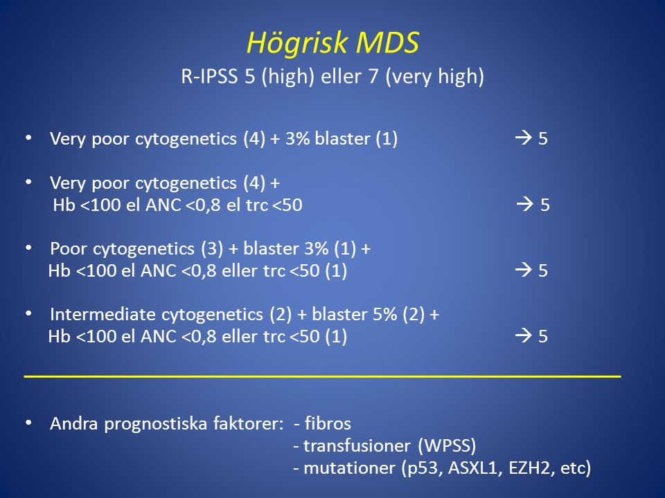 Högrisk MDS R-IPSS 5 (high) eller 7 (very high)