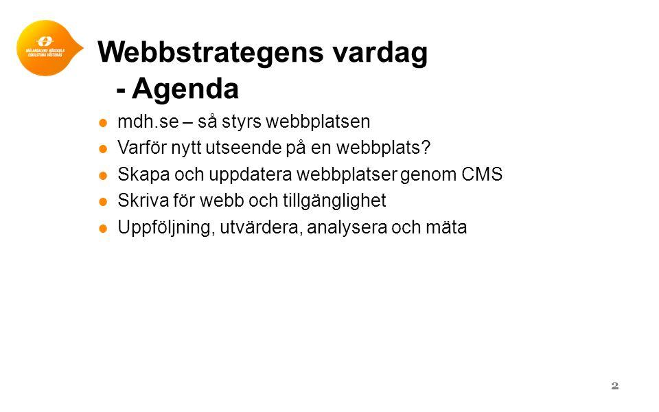 Webbstrategens vardag - Agenda