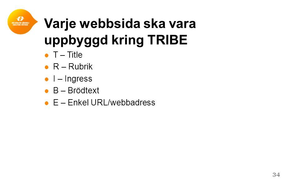 Varje webbsida ska vara uppbyggd kring TRIBE