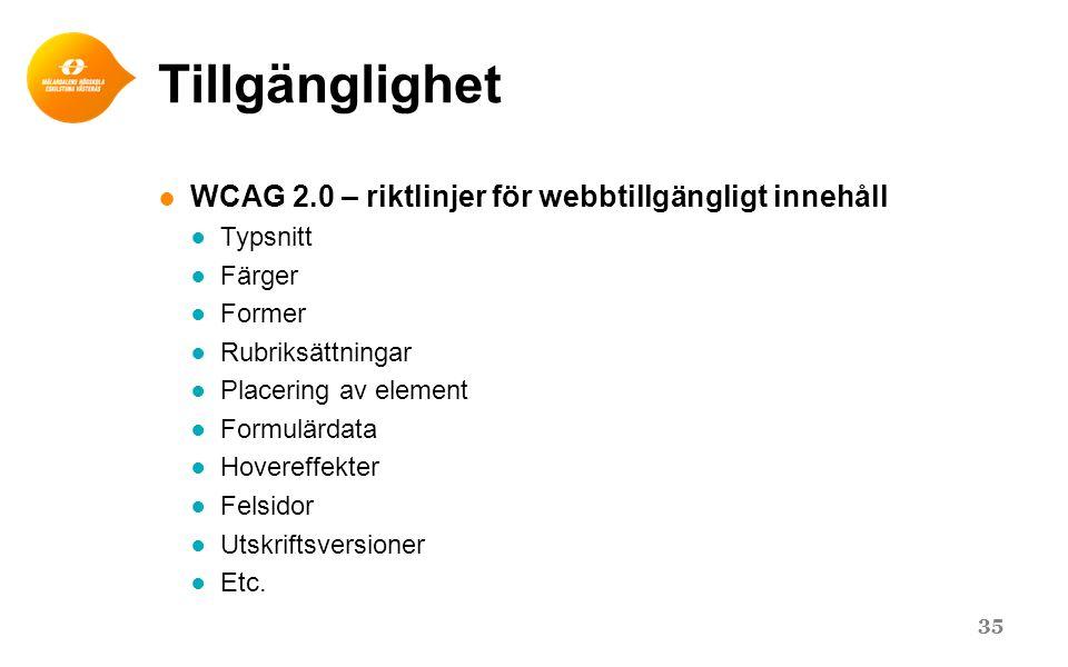 Tillgänglighet WCAG 2.0 – riktlinjer för webbtillgängligt innehåll