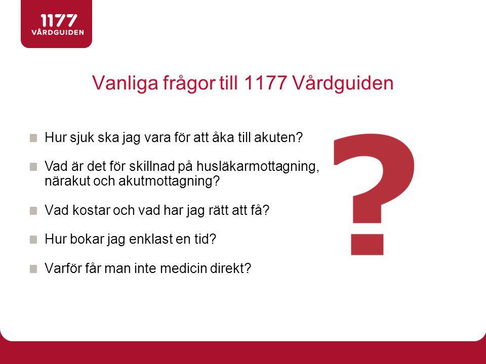 Vanliga frågor till 1177 Vårdguiden
