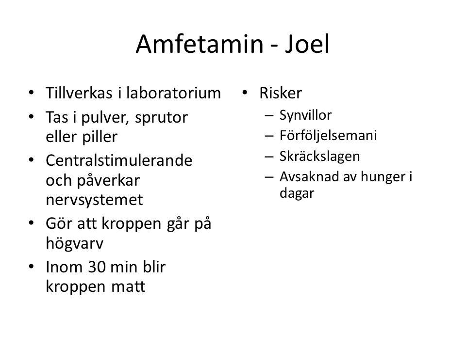 Amfetamin - Joel Tillverkas i laboratorium