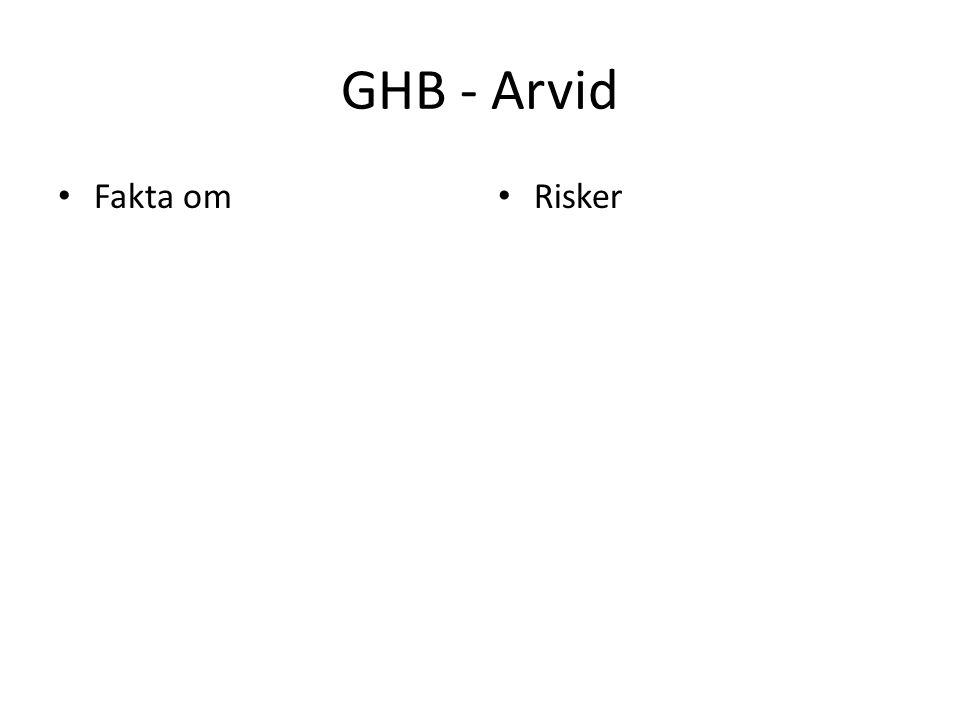 GHB - Arvid Fakta om Risker