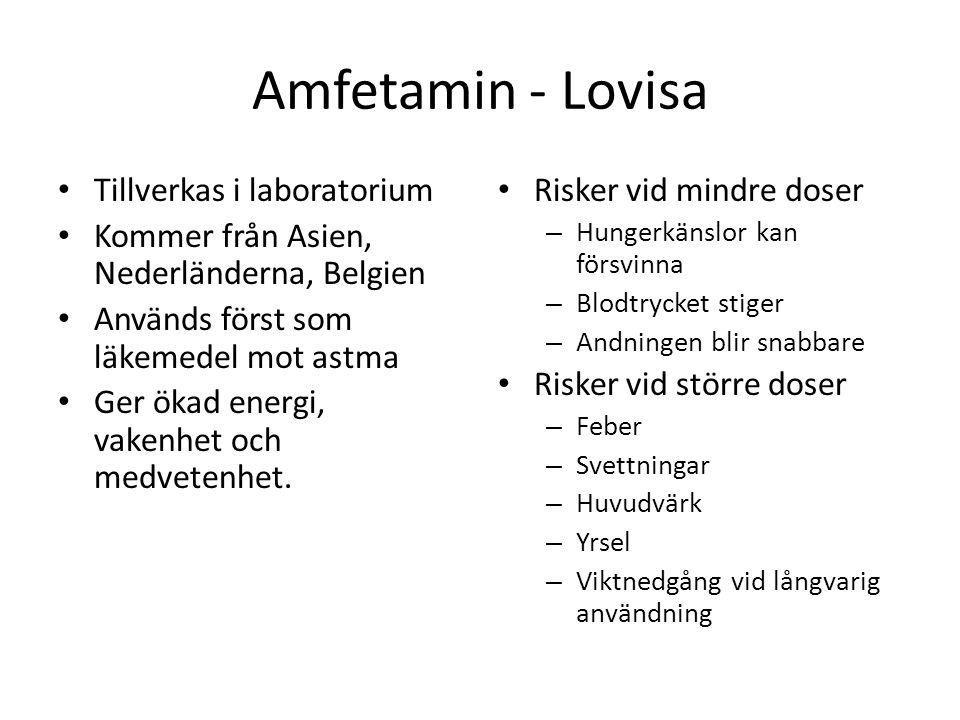 Amfetamin - Lovisa Tillverkas i laboratorium