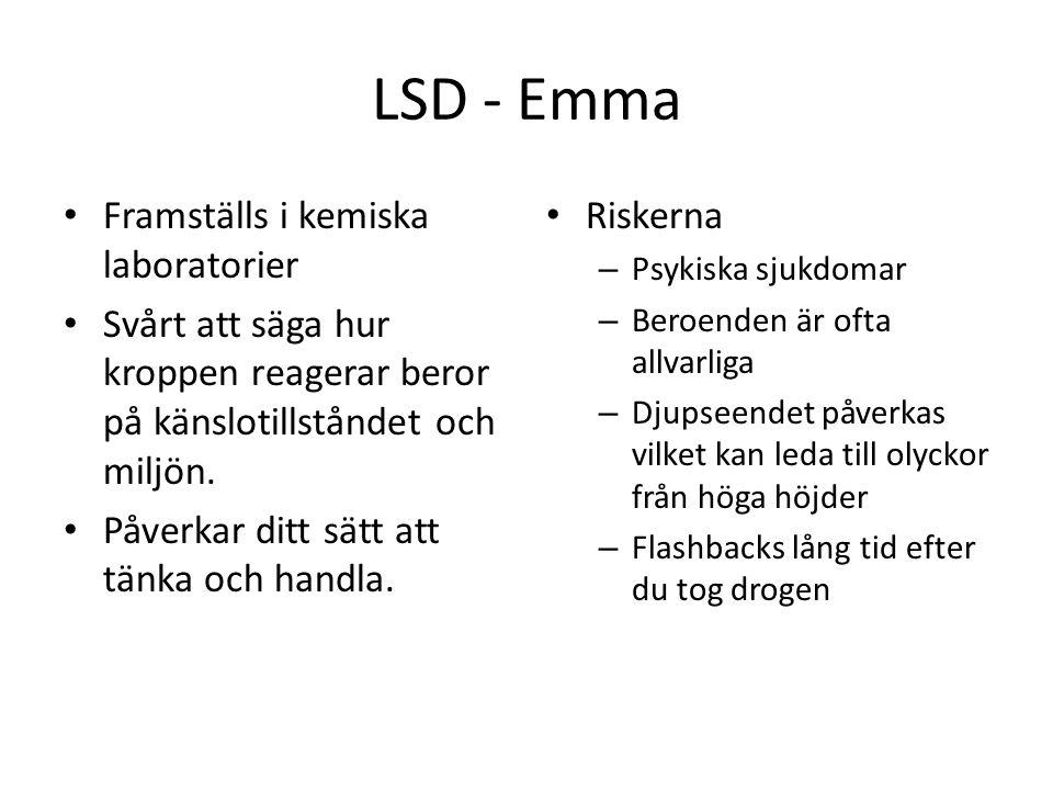 LSD - Emma Framställs i kemiska laboratorier