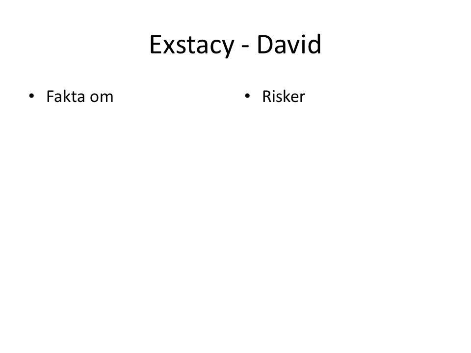 Exstacy - David Fakta om Risker