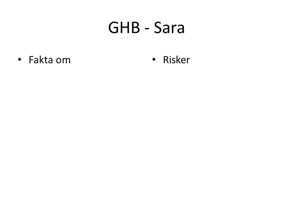 GHB - Sara Fakta om Risker