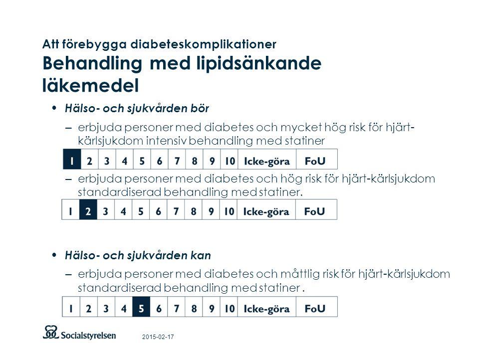 Att förebygga diabeteskomplikationer Behandling med lipidsänkande läkemedel