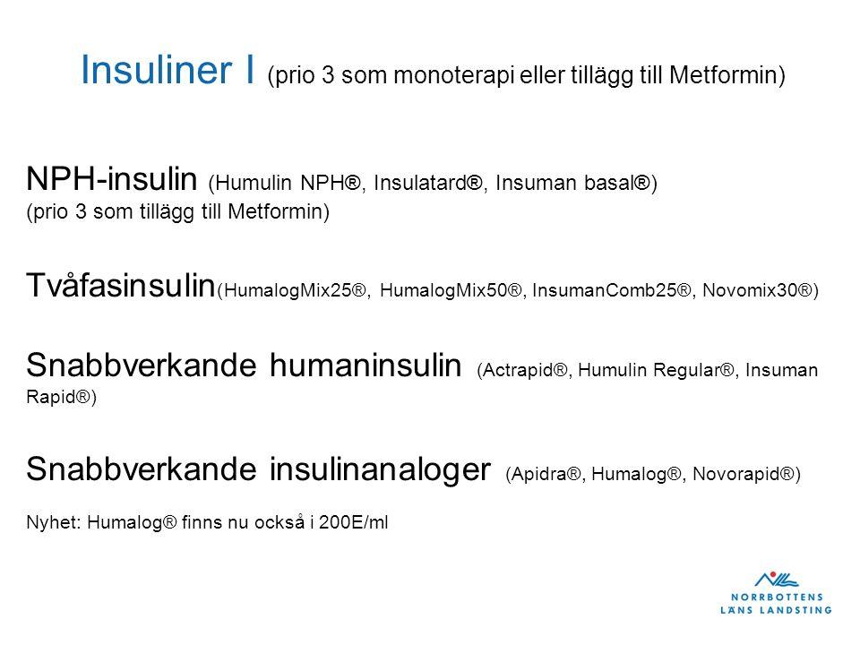 Insuliner I (prio 3 som monoterapi eller tillägg till Metformin)
