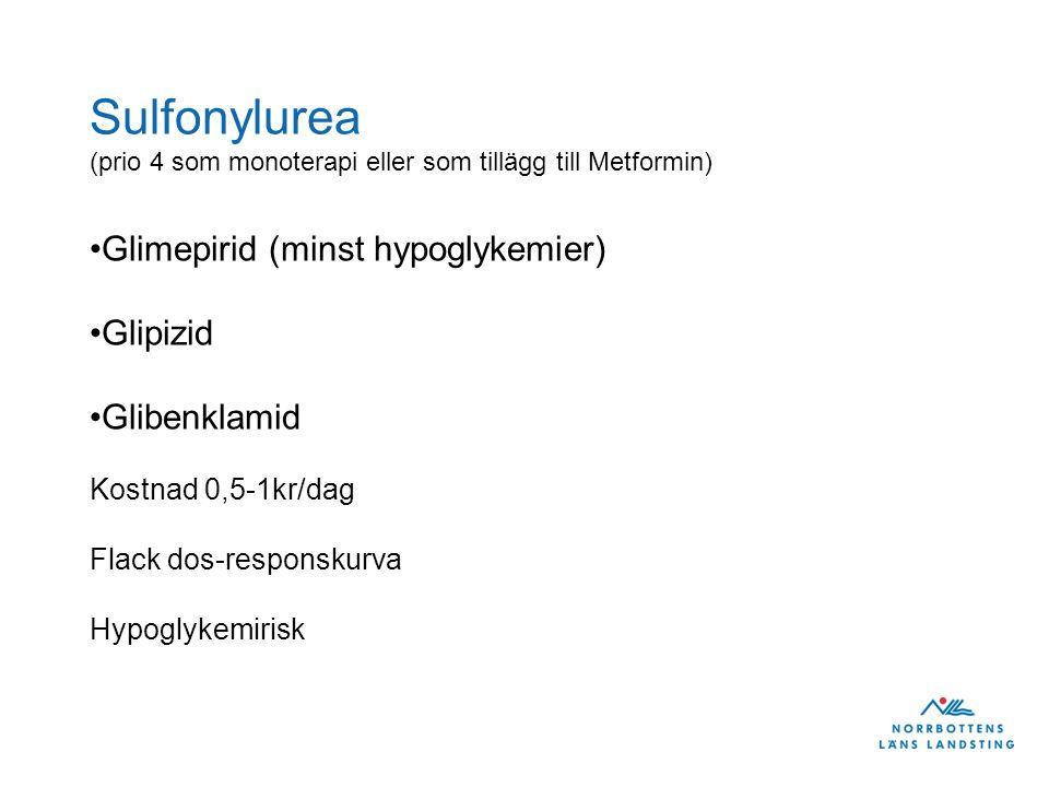 Sulfonylurea (prio 4 som monoterapi eller som tillägg till Metformin)